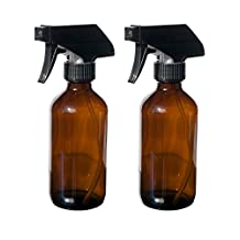 2 Pack - 8 oz. Amber Glass Bottles with Durable Trigger Style Spray Nozzles - Great for Homemade Cleaning and Personal Care Products Made with Essential Oils