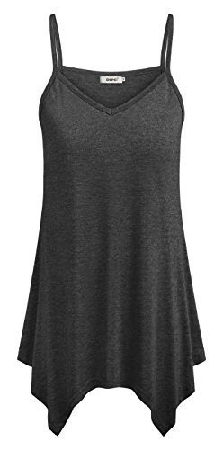 BEPEI Summer Tops for Women,Lightweight Vitality Tank Undershirt Comfy Camisoles Fashion A Line Blouses Deep V-Neck Tunics Clothing 2019 Dark Gray L