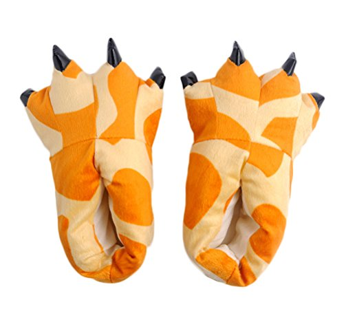Nanxson(TM) Unisex Winter Warm Plush Animal Paw Slippers TX0001 (Kids 6-7,giraffe) (Kids Hobbit Feet)