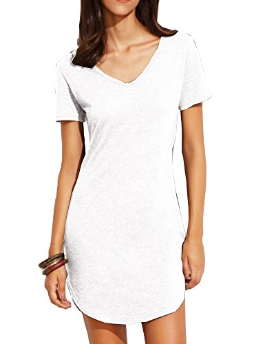 - Haola Women's Summer Short Sleee Slim Fit Shirts Mini Dresses Juniors Dress Top S White