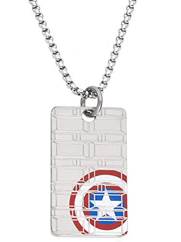 Marvel Comics Captain America Jewelry, Stainless Steel Dog Tag Pendant Necklace, 22
