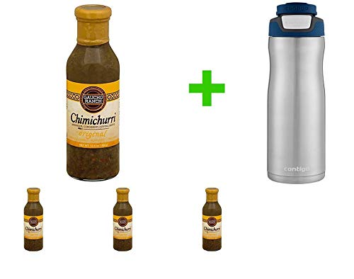 Gaucho Ranch Original Flavor Chimichurri, 12.5 oz (4 PCS) + Contigo Autoseal Chill Stainless Steel Hydration Bottle 24oz(Combo Offer)