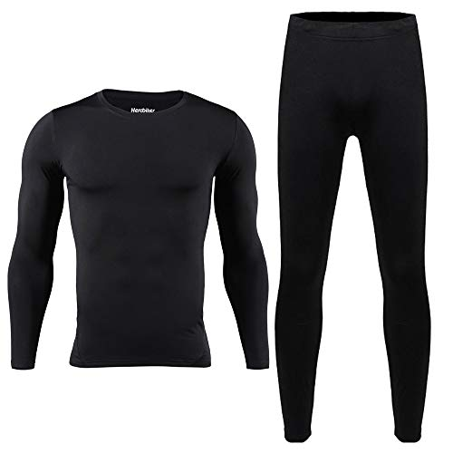 (HEROBIKER Men Cotton Thermal Underwear Set Motorcycle Skiing Winter Warm Base Layers Tight Long Johns Tops & Pants Set Black M)