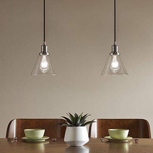 Capella - Aya Empire Shaped Clear Glass Hanging Light Pendant Lamp - Pair ( Set of 2 ) - Brush Gunmetal Housing - Down Pendant Light Set