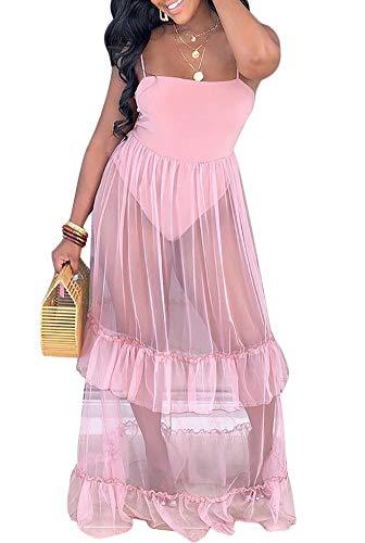 Women Spaghetti Strap Mesh Patchwork Jumper Dresses Clubwear Maxi Sheer Club Dresses Pink