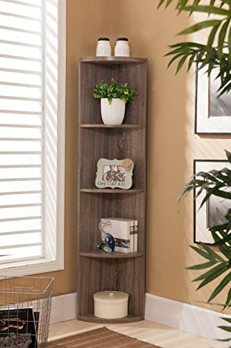 (Contemporary 5-Shelf Corner Bookcase with Open Storage Wood Frame, Slender Vertical Design for Small Spaces, Classic Clean Style with Rich Oak Finish, Practical Storage Solution + Expert Home Guide)