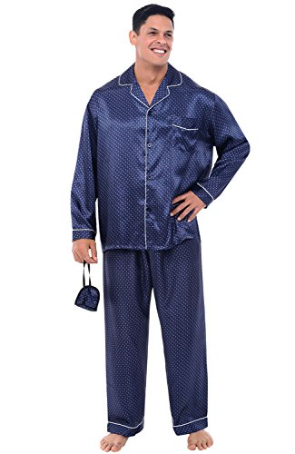 Alexander Del Rossa Mens Satin Pajamas, Long Button-Down Pj Set, Medium White Dots on Blue (A0752P14MD)
