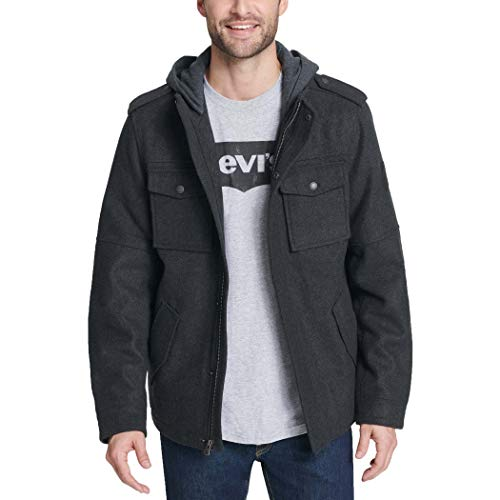 Levi's Men's Wool Blend Military Jacket with Hood, Charcoal, XX-Large