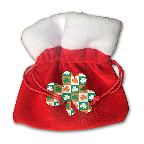 CYINO Personalized Santa Sack,Shamrock Ireland Portable Christmas Drawstring