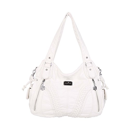 (Angelkiss Women Top Handle Satchel Handbags Shoulder Bag Messenger Tote Washed Leather Purses Bag (White) ...)
