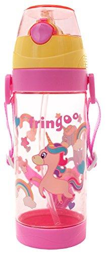 FRINGOO Kids Children Straw Drinks Water Bottle 550ml Handle Strap Flip Top...