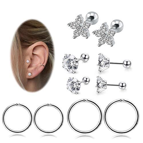 (RIOSO Helix Hoop Cartilage Earrings Stainless Steel Conch Tragus Piercing Jewelry for Women Girls Earring Set ...)