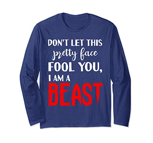Unisex Don't Let Pretty Face Fool You Beast Wrestling Long Sleeve XL: Navy by Don't Let Pretty Face Fool You Beast Long Sleeve