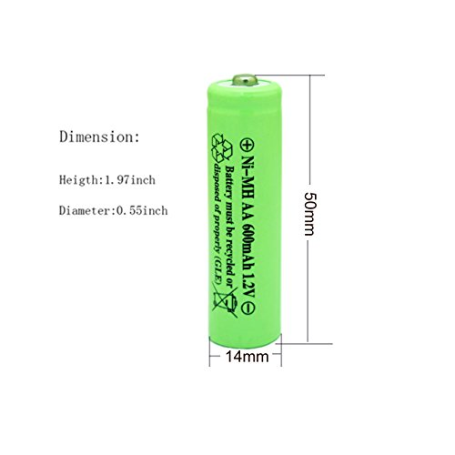 Geilienergy NiMH AA 600mAh 1.2V Rechargeable Batteries for Solar Lights, Garden Lights, Remotes, Mice(Pack of 8)