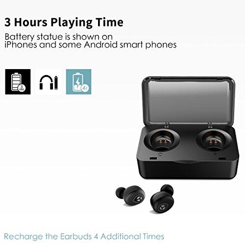 Bluetooth 5.0 Deep Bass True Wireless Headphones, Tranya Sports Wireless Earbuds, Sweat Proof Earphones Built-in Microphone for Running, Gift Box by TRANYA (Image #3)