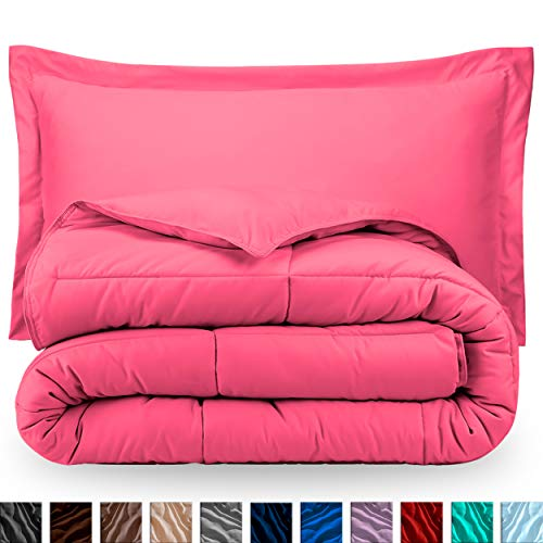 Solid Pink Comforter - Bare Home Comforter Set - Twin/Twin Extra Long - Goose Down Alternative - Ultra-Soft - Premium 1800 Series - Hypoallergenic - All Season Breathable Warmth (Twin/Twin XL, Pink)