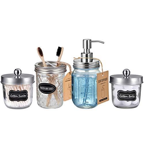 Mason Jar Bathroom Accessories Set(4 Pack) - Lotion Soap Dispenser&Qtip Holder Set&Toothbrush Holder-Rustic Farmhouse Decor Apothecary Jar Bathroom Countertop,Vanity Organize (Brushed Nickel)