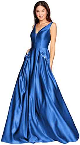 03bb4f7bc1a8 Zhongde Women's V Neck Open Back Beaded Satin Prom Dress Long Formal  Evening Gown with Pockets