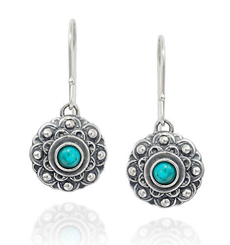 (Antique Style Turquoise Flower Dangle Earrings in 925 Sterling Silver Elegant Women's Jewelry)