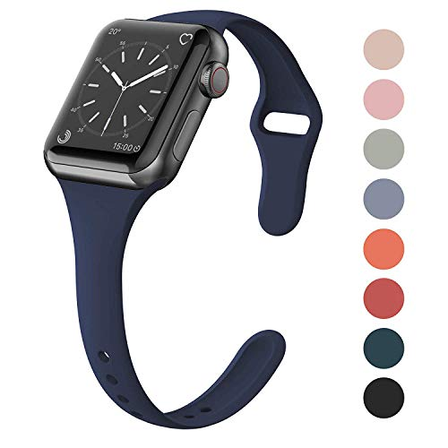 (SWEES Sport Silicone Band Compatible Apple Watch 38mm 40mm, Soft Silicone Slim Thin Narrow Small Replacement Strap for iWatch Series 4, Series 3, Series 2, Series 1, Sport & Edition Women, Navy Blue)