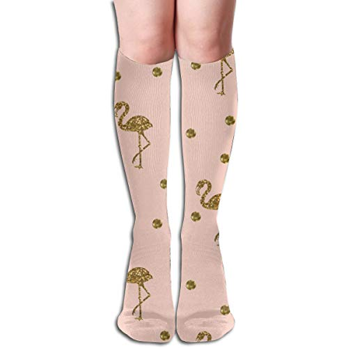 Women's Fancy Design Stocking Flamingo Gold Polka Dots On Blush Pink Multi Colorful Patterned Knee High Socks 50cm(19.6Inchs)