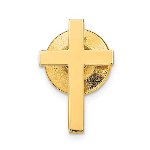 14k Yellow Gold Cross Religious Tie Tac Man Bar/Fine Jewelry Gift For Dad Mens For Him