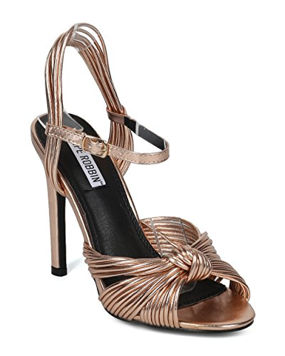 Alrisco Women Peep Toe Knotted Ankle Strap Stiletto Sandal - HF50 by Cape Robbin Collection - Rose Gold Metallic (Size: 8.0) (Knotted Peep Toe Pumps)