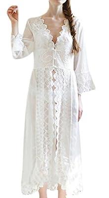 Conffetti Women's Vintage Long Nightgown Lace Robe Bathrobe Nightwear
