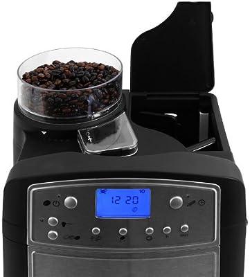 Klarstein Coffeemate Premium Cafetera con molinillo 5 niveles y jarra termo inox (Depósito de agua con filtro carbón activo, pantalla LCD, café en ...
