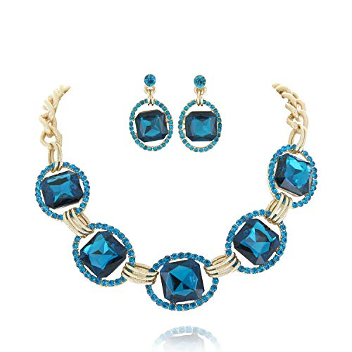 SP Sophia Collection Austrian Crystal Women's Chunky Chain Necklace and Earrings Jewelry Set in Gold Swiss Blue
