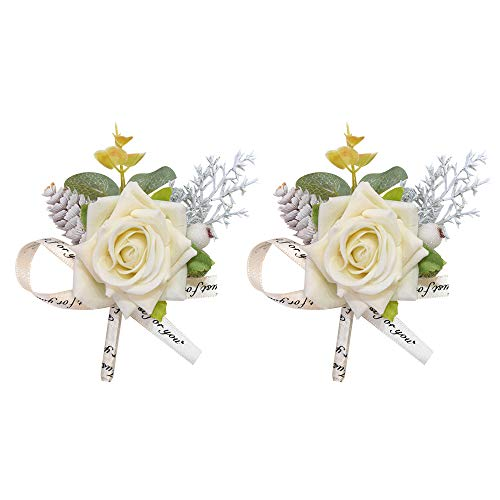 ETERNAL ANGEL Boutonnieres for Men Handmade Wedding Flowers Lapel Pins Groom Groomsman Corsages Brooch Bouquet for Suit Ivory 2PCS
