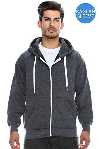 Plus Size Mens Hip Hop Basic Unisex Zip-Up Hoodie Jacket Melange CHARCOAL 4XL
