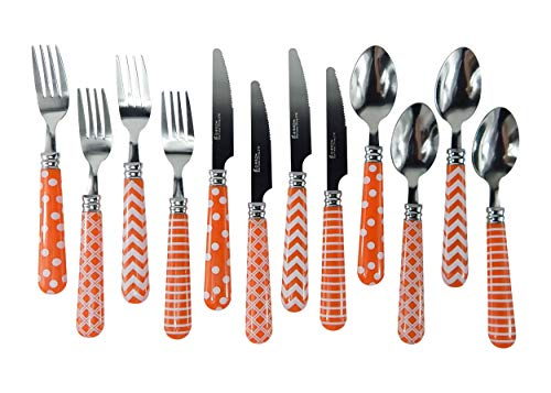 Orange Handle Silverware Gibson Home Retro Diner Flatware Economy 12 Piece Service for 4 Stainless Tops Plastic Handles (Orange)