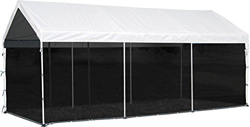 - ShelterLogic MaxAP 2-in-1 Canopy with Screen Kit, White, 10 x 20 ft.