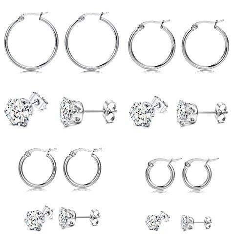 FIBO STEEL 8 Pairs Stainless Steel CZ Stud Earrings Hoop Earrings for Men Women Piercing Earrings Set