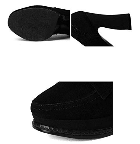 Mode épais Noir Talons Chaussures HJHY Taille en Hauts Printemps 35 Couleur dépoli Confortable Mouton Cuir véritable Simples LGLFRXZ Talon en de Femmes Chaussures de Noir Peau qAXTd