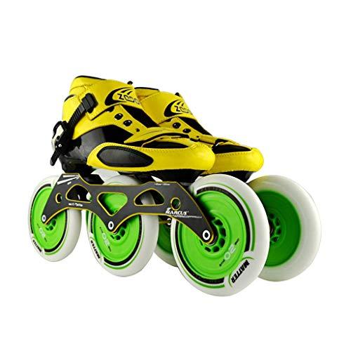 純正ローブ傾向がありますailj スピードスケート靴3 * 125MM調整可能なインラインスケート、ストレートスケート靴(4色) (色 : イエロー いえろ゜, サイズ さいず : EU 42/US 9/UK 8/JP 26cm)