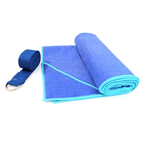 WARRIOR -380 GSM - Yoga Towel with Corner Pocket & Stretching Strap, Microfiber- Slip Resistance-Quick Dry-Sweat Absorbent Towel for Yoga, Bikram Hot Yoga, Pilate, Fitness, Outdoor & Multi-Purposes ()