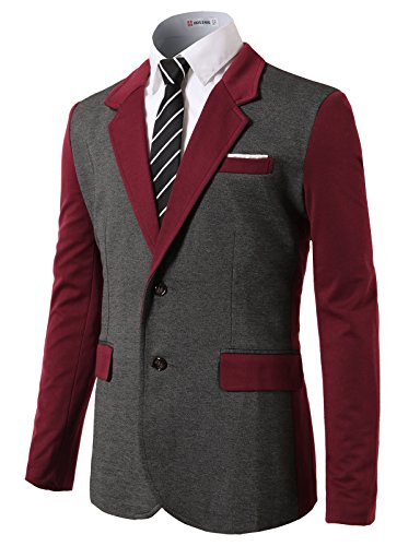 H2H Mens Tweed Blazer With Elbow Patch 2 Buttons Notch Lapel Wine US XL/Asia 2XL (CMOBL015)