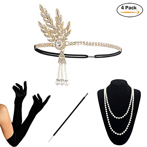 1920s Accessories Set Flapper Costume for Women (S4-HAGold) -