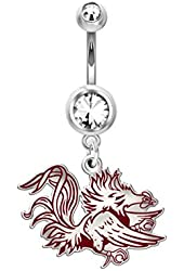 South Carolina Gamecocks Belly Navel Ring in Color Logo, Stainless Steel and Sterling Silver
