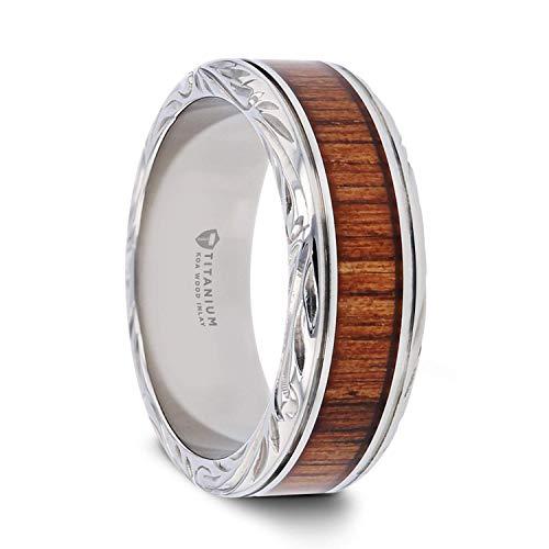 Thorsten Ohana   Titanium Rings for Men   Lightweight Titanium   Comfort Fit   Custom Engraving   Koa Wood Inlaid Titanium Wedding Ring with Intricate Edges - 10 - Designer Ring Wedding Edge