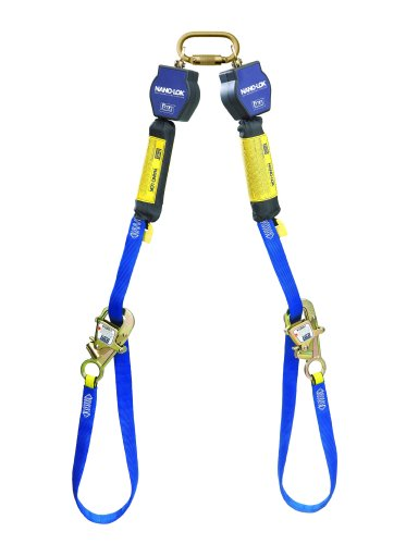 3M DBI-SALA Nano-Lok 3101373 Self Retracting Lifeline, 9', 3/4'' Dynema Polyester Web, Tie-Back Hook, Quick Connector For Fixed D-Ring Harness Mounting, Blue by 3M Fall Protection Business (Image #1)