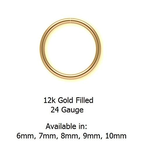 7mm 24g 12k Gold Filled Seamless Nose Hoop or Ear Hoop