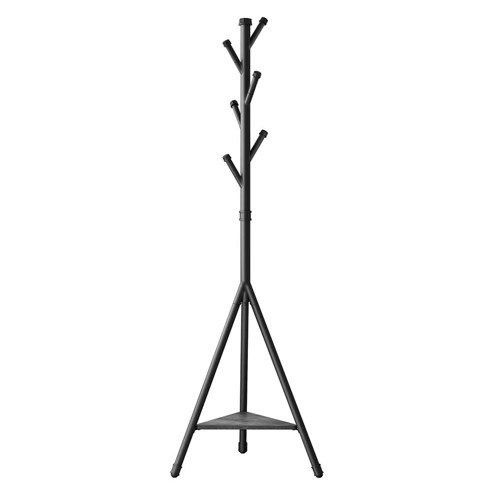 SONGMICS Coat Rack Stand with 6 Hooks and Storage Shelf, Urban Industrial Style, Corner Hall Tree Hanger for Entryway, Hallway, for Clothing, Hats, Bags, Black URCR26BC