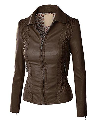 MBJ Womens Faux Leather Zip Up Moto Jacket L COFFEE