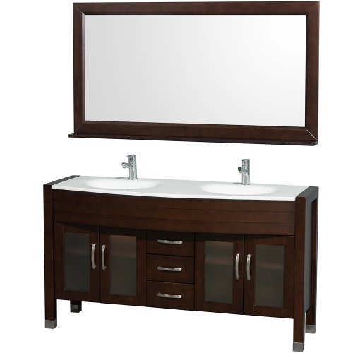 Made Stone Man (Wyndham Collection Daytona 60 inch Double Bathroom Vanity in Espresso with White Man-Made Stone Top with White Integral Sinks)