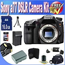Sony A77 24.3 MP Digital SLR with Translucent Mirror Technology (Body Only) W/8GB SDHC Memory + Extended Life Battery + Deluxe Case w/Strap Accessory Saver Bundle 24.3 Mp Translucent Mirror
