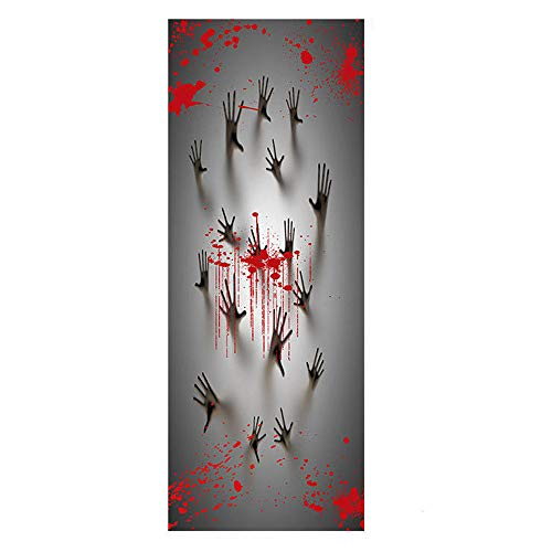 Minions Halloween Wallpaper (Halloween Door Sticker Creepy Door Back Ghost Hand Wallpaper Murals Self-Adhesive Removable Vinyl Stickers Wall Decal DIY Haunted House Poster Party Supplies 30.7x11.8)