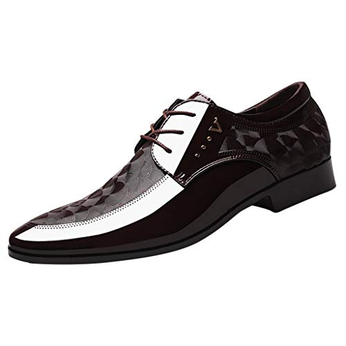 DORIC Men Lace Business Leather Shoes Casual Comfortable Dress Shoe Male Suit Shoes Brown